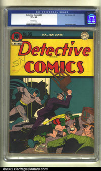 Detective Comics #95 (DC, 1945) CGC VF+ 8.5 Off-white pages. Poor Robin! This time two thugs are working him over, as he...