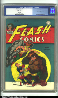 Flash Comics #70 (DC, 1946) CGC NM 9.4 White pages. Joe Kubert's classic version of Hawkman graces this unbelievably hig...