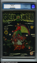 Golden Age (1938-1955):Superhero, Green Lantern #3 Windy City pedigree (DC, 1942) CGC FN+ 6.5 Light tan to off-white pages. This fantastic black cover feature...