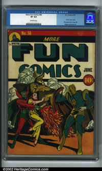 More Fun Comics #56 (DC, 1940) CGC VF 8.0 Off-white pages. This scarce Golden Age great features the first cover appeara...