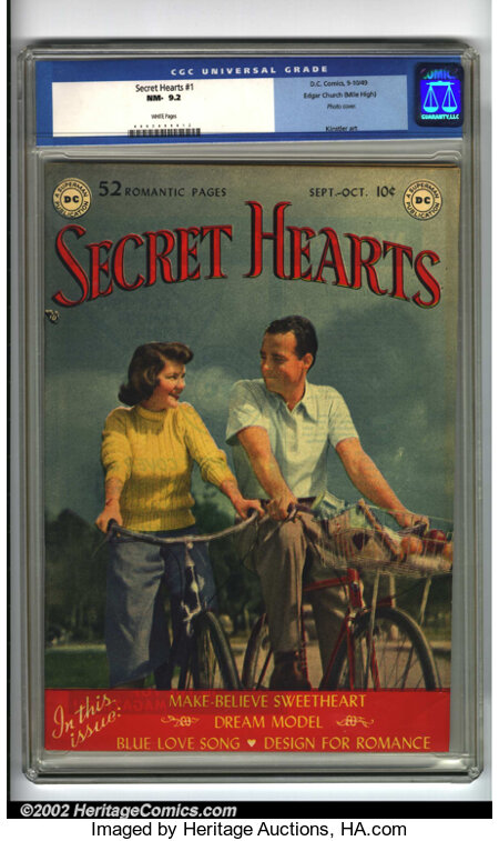 Secret Hearts #1 Mile High pedigree (DC, 1949) CGC NM- 9.2 White pages. According to Overstreet this book ranks eighth among...
