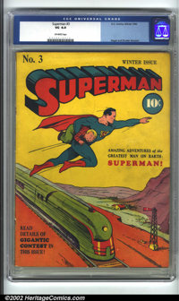 Superman #3 (DC, 1940) CGC VG 4.0 Off-white pages. Here is the classic third issue of this long-running series. The cool...