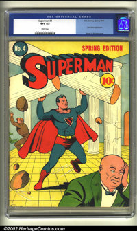Superman #4 (DC, 1940) CGC VF+ 8.5 White pages. Siegel and Shuster render a dynamic cover of Superman toppling columns a...