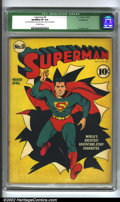 Golden Age (1938-1955):Superhero, Superman #9 (DC, 1941) CGC Qualified VF 8.0 Off-white pages. This is one of the classic early covers by Fred Ray. It is a be...