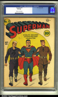 Superman #12 (DC, 1941) CGC VF 8.0 Off-white to white pages. A terrific patriotic cover by Fred Ray, over a year before...