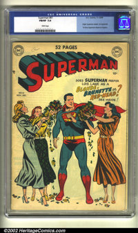 Superman #61 (DC, 1949) CGC FN/VF 7.0 White pages. This book is key for many reasons. It retells the origin of Superman...