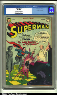 Superman #74 (DC, 1952) CGC VF 8.0 Dark tan to off-white pages. Lex Luthor has turned Lois Lane to stone, and is in the...