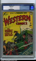 Golden Age (1938-1955):Western, Western Comics #1 (DC, 1948) CGC VF/NM 9.0 Off-white pages. Withthis premiere issue, DC launched its flagship shoot 'em up ...