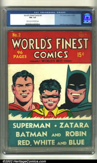 World's Finest Comics #2 (DC, 1941) CGC FN+ 6.5 Light tan to off-white pages. Don't be looking for the preceding issue o...