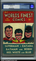 Golden Age (1938-1955):Superhero, World's Finest Comics #2 (DC, 1941) CGC GD/VG 3.0 Cream to off-white pages. This early squarebound DC picks up where World...