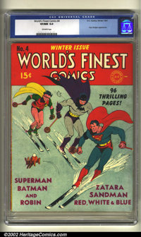 World's Finest Comics #4 (DC, 1941) CGC VF/NM 9.0 Off-white pages. This gigantic book is in incredible condition. The co...