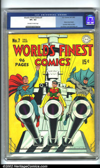 World's Finest Comics #7 (DC, 1942) CGC VF+ 8.5 Off-white to white pages. Batman, Robin and Superman let it all hang out...