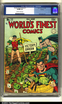 World's Finest Comics #11 Rockford pedigree (DC, 1943) CGC VF/NM 9.0 Off-white to white pages. These cardboard cover iss...