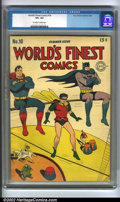Golden Age (1938-1955):Superhero, World's Finest Comics #18 (DC, 1945) CGC VF+ 8.5 Off-white to white pages. Superman, Batman and Robin are again featured tog...