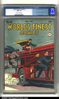 World's Finest Comics #30 (DC, 1947) CGC NM- 9.2 Off-white to white pages. Superman, Batman, and Robin ride a hook and l...