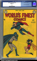 Golden Age (1938-1955):Superhero, World's Finest Comics #41 (DC, 1949) CGC NM- 9.2 White pages. Batman, Superman and Robin have all been bit by the photograph...