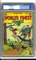 Golden Age (1938-1955):Superhero, World's Finest Comics #68 (DC, 1954) CGC FN/VF 7.0 Cream to off-white pages. This classic book is from the scarce time perio...