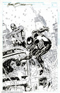 Original Comic Art:Splash Pages, Mike Zeck - Original Art for Amazing Spider-Man Splash (undated).This action packed pin-up has Spidey and Venom battling it...
