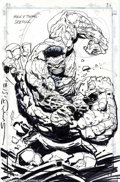 Original Comic Art:Sketches, Simon Bisley - Original Art Sketch of Hulk vs. Thing (undated). Here are the two heavyweights of the Marvel Universe duking ...