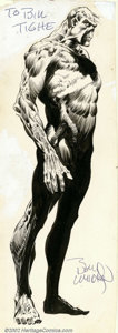 Original Comic Art:Sketches, Bernie Wrightson - Original Art Illustration of Swamp Thing (DC, 1975). Eerie, wonderful full-body illustration of Bernie Wr...