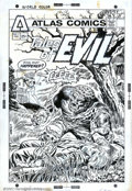 Original Comic Art:Covers, Larry Lieber - Original Cover Art for Tales of Evil #1 (Atlas,1975). Horrific '70s Werewolf cover dramatically rendered by ...