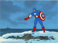 Original Comic Art:Paintings, Original Animation Art for Captain America (Marvel, 1980s). Hand-painted acetate production cels like this one have become a...