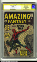 Silver Age (1956-1969):Superhero, Amazing Fantasy #15 Stan Lee File Copy (Marvel, 1962) CGC VG 4.0Off-white to white pages. Signature Series. The first appea...