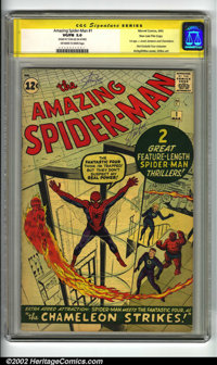 The Amazing Spider-Man #1 Stan Lee File Copy (Marvel, 1963) CGC VG/FN 5.0 Off-white to white pages. Signature Series. St...