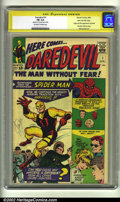 Silver Age (1956-1969):Superhero, Daredevil #1 Stan Lee File Copy. (Marvel, 1964) CGC FN 6.0Off-white to white pages. Signature Series. Origin and first app...