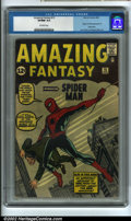 Silver Age (1956-1969):Superhero, Amazing Fantasy #15 (Marvel, 1962) CGC VF/NM 9.0 Off-white pages. Spider-Man makes a dramatic entrance on the cover of this,...