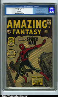 Amazing Fantasy #15 (Marvel, 1962) CGC VF- 7.5 Off-white pages. Without question, this is the most sought-after comic bo...