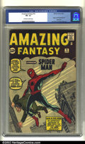 Silver Age (1956-1969):Superhero, Amazing Fantasy #15 (Marvel, 1962) CGC FN- 5.5 Off-white to whitepages. Steve Ditko brings the Web-Slinger to life for the ...