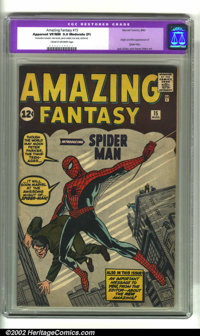 Amazing Fantasy #15 (Marvel, 1962) CGC Apparent VF/NM 9.0 Moderate (P) Cream to off-white pages. All of the great elemen...