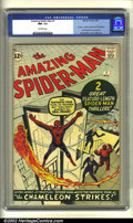 Silver Age (1956-1969):Superhero, The Amazing Spider-Man #1 (Marvel, 1963) CGC NM- 9.2 Off-whitepages. Continued over from Amazing Fantasy #15, Spidey's ...