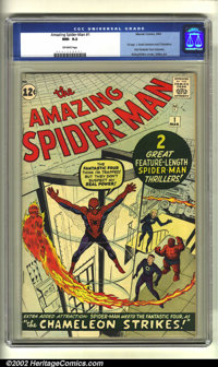 The Amazing Spider-Man #1 (Marvel, 1963) CGC NM- 9.2 Off-white pages. Continued over from Amazing Fantasy #15, Spidey's...