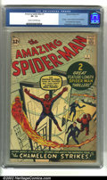 Silver Age (1956-1969):Superhero, The Amazing Spider-Man #1 (Marvel, 1963) CGC VF- 7.5 Cream tooff-white pages. This first issue of Marvel's greatest charact...