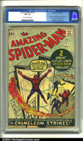 Silver Age (1956-1969):Superhero, The Amazing Spider-Man #1 (Marvel, 1963) CGC FN+ 6.5 Cream to off-white pages. This solid book is unquestionably one of the ...