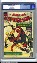 Silver Age (1956-1969):Superhero, The Amazing Spider-Man #16 (Marvel, 1964) CGC NM 9.4 Off-white towhite pages. Spider-Man becomes a contortionist on this sp...