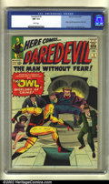 Silver Age (1956-1969):Superhero, Daredevil #3 (Marvel, 1964) CGC NM 9.4 White pages. This wondrousJack Kirby cover showcases the Owl's first appearance. Not...