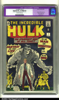Silver Age (1956-1969):Superhero, The Incredible Hulk #1 (Marvel, 1962) CGC Apparent VF- 7.5 Slight (A) Off-white to white pages. Hulk #1 is one of the to...