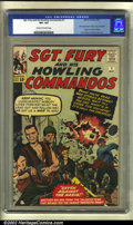 Silver Age (1956-1969):War, Sgt. Fury #1 (Marvel, 1963) CGC VF+ 8.5 Cream to off-white pages. Sgt. Nick Fury storms in with machine gun blazing to annou...