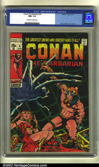 Conan the Barbarian #4 (Marvel, 1971) CGC NM+ 9.6 Off-white to white pages. The black cover on this classic by Barry Smi...