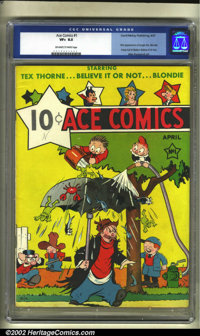 Ace Comics #1 (David McKay Publications, 1937) CGC VF+ 8.5 Off-white to white pages. Here is a really early book in high...