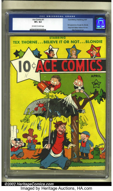 Ace Comics #1 (David McKay Publications, 1937) CGC VF+ 8.5 Off-white to white pages. Here is a really early book in high gra...