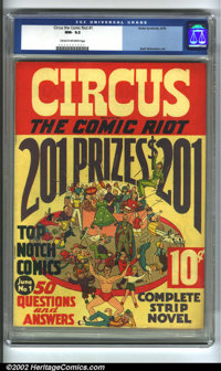 Circus the Comic Riot #1 (Globe Syndicate, 1938) CGC NM- 9.2 Cream to off-white pages. This scarce issue has Basil Wolve...