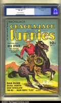 Golden Age (1938-1955):Western, Crackajack Funnies #9 Dell File Copy (Dell, 1939) CGC VF+ 8.5 Creamto off-white pages. This fantastic western cover feature...