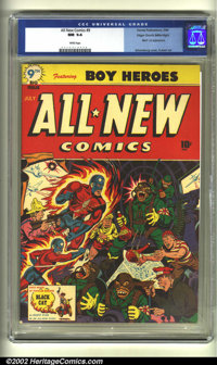 All-New Comics #9 Mile High pedigree (Harvey, 1944) CGC NM 9.4 White pages. The incredible quality of this book is readi...