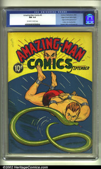 Amazing-Man #5 Mile High pedigree (Centaur, 1939) CGC NM 9.4 Off-white to white pages. This rare Golden Age gem contains...