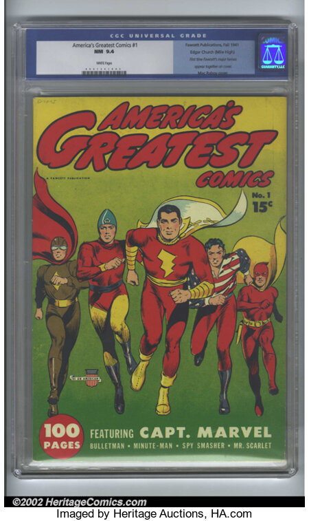 America's Greatest Comics #1 Mile High pedigree (Fawcett, 1941) CGC NM 9.4 White pages. Stunning! Any seasoned collector kno...
