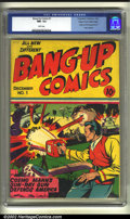 Golden Age (1938-1955):Superhero, Bang-Up Comics #1 Mile High pedigree (Progressive Publishers, 1941) CGC NM- 9.2 White pages. This one is about as esoteric a...